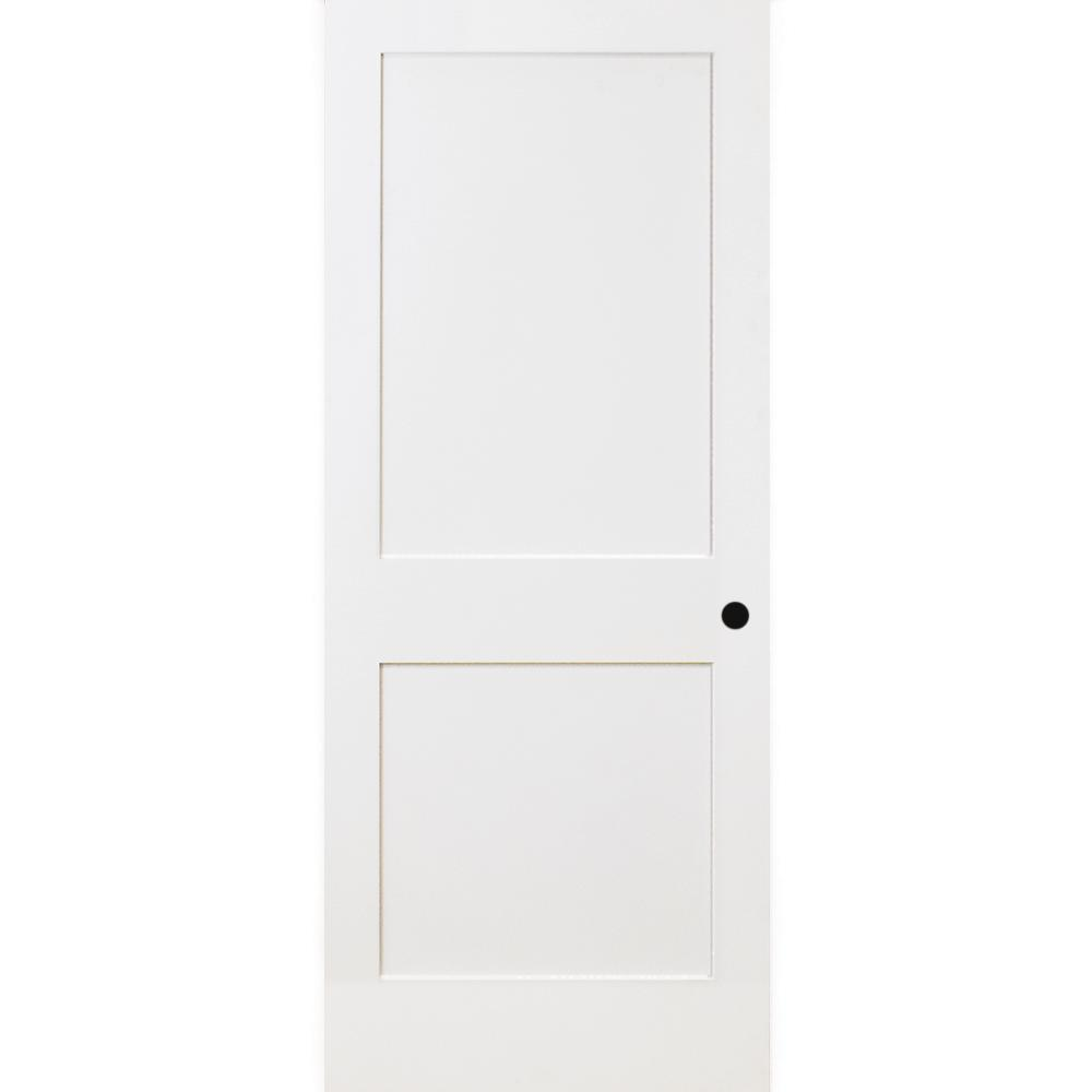 30 in. x 80 in. 2-Panel Square Shaker White Primed Solid