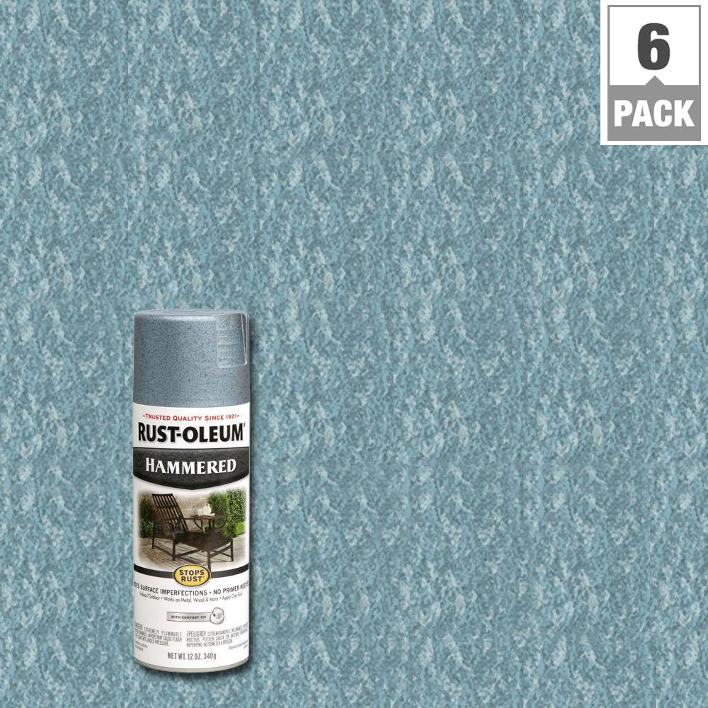 Rust Oleum Stops Rust 12 Oz Hammered Light Blue Protective Spray Paint 6 Pack