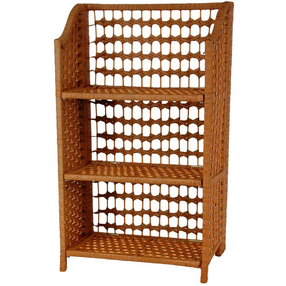 3-Shelf Honey Natural Fiber Shelving Trunk