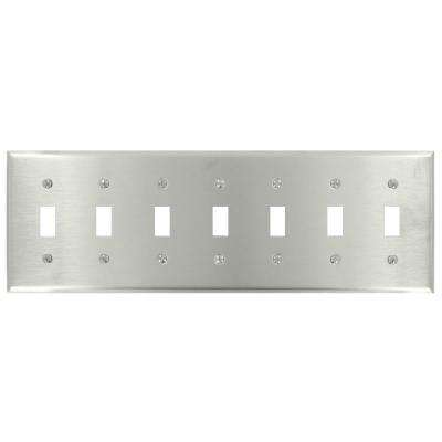 7-Gang 7-Toggle Standard Size Stainless Steel Wall Plate, Stainless Steel