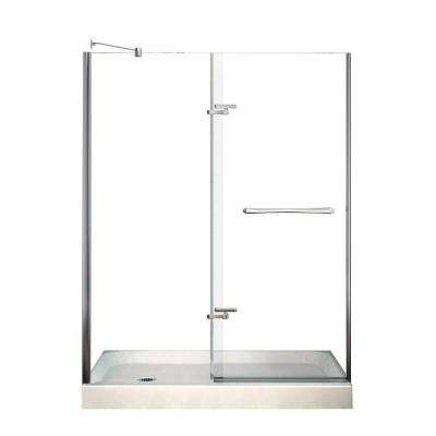 Reveal 30 in. x 60 in. x 76-1/2 in. Alcove Shower Kit in Chrome with Left Drain Base in White