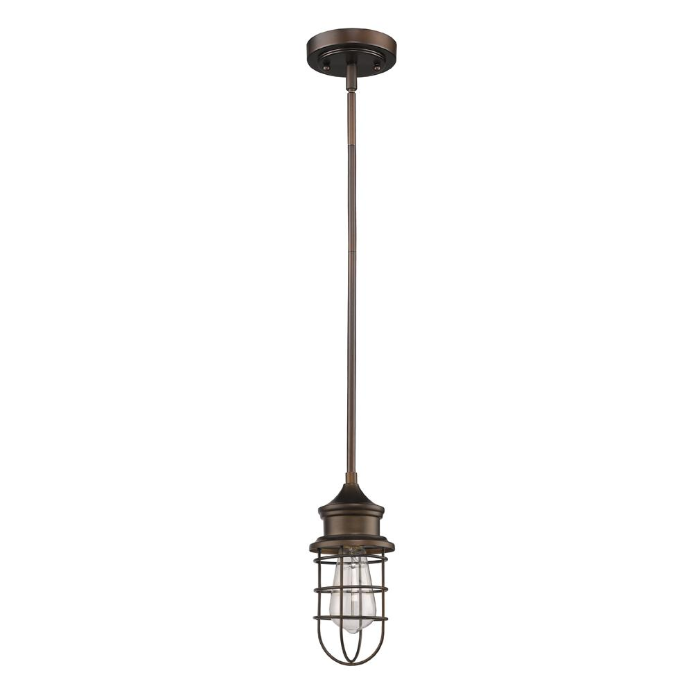 Virginia Indoor 1-Light Oil Rubbed Bronze Mini-Pendant with Metal Cage