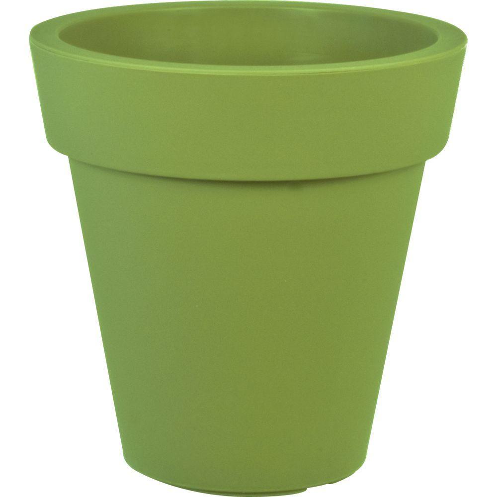 Mela 20 in. Dia Round Green Plastic Planter