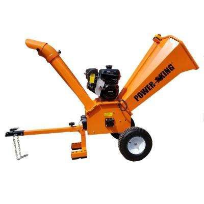 4 in. 9.5 HP Gas CommercialPowered Chipper Shredder with Removable Tow Hitch Bar