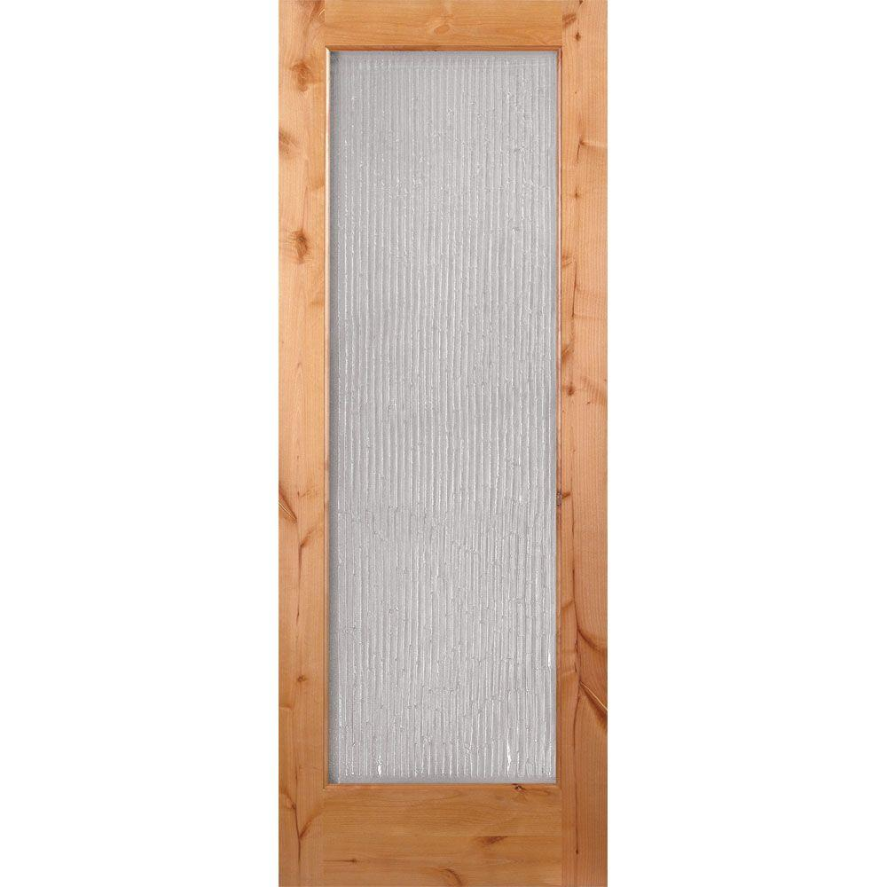 Feather River Doors 24 in. x 80 in. 1 Lite Unfinished Knotty Alder Bamboo Casting Woodgrain Interior Door Slab