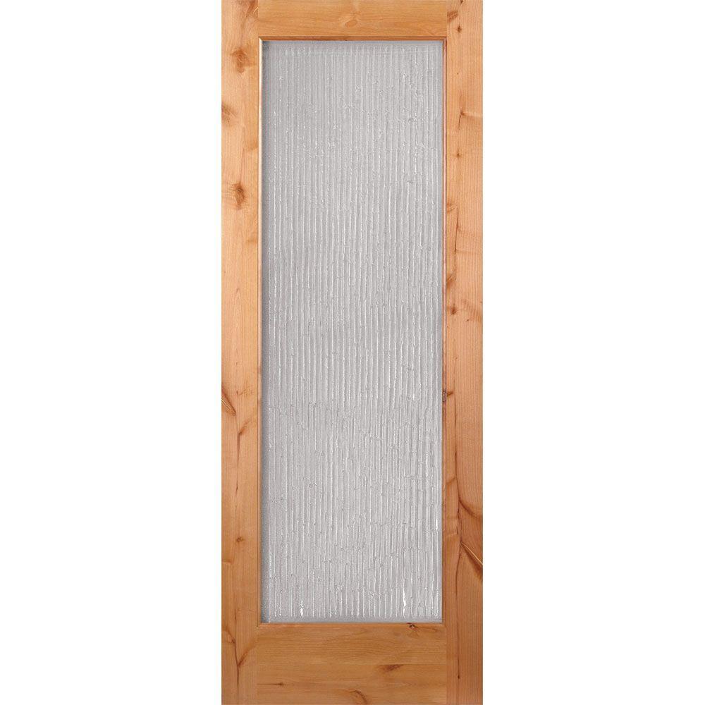 Feather River Doors 36 in. x 80 in. 1 Lite Unfinished Knotty Alder Bamboo Casting Woodgrain Interior Door Slab