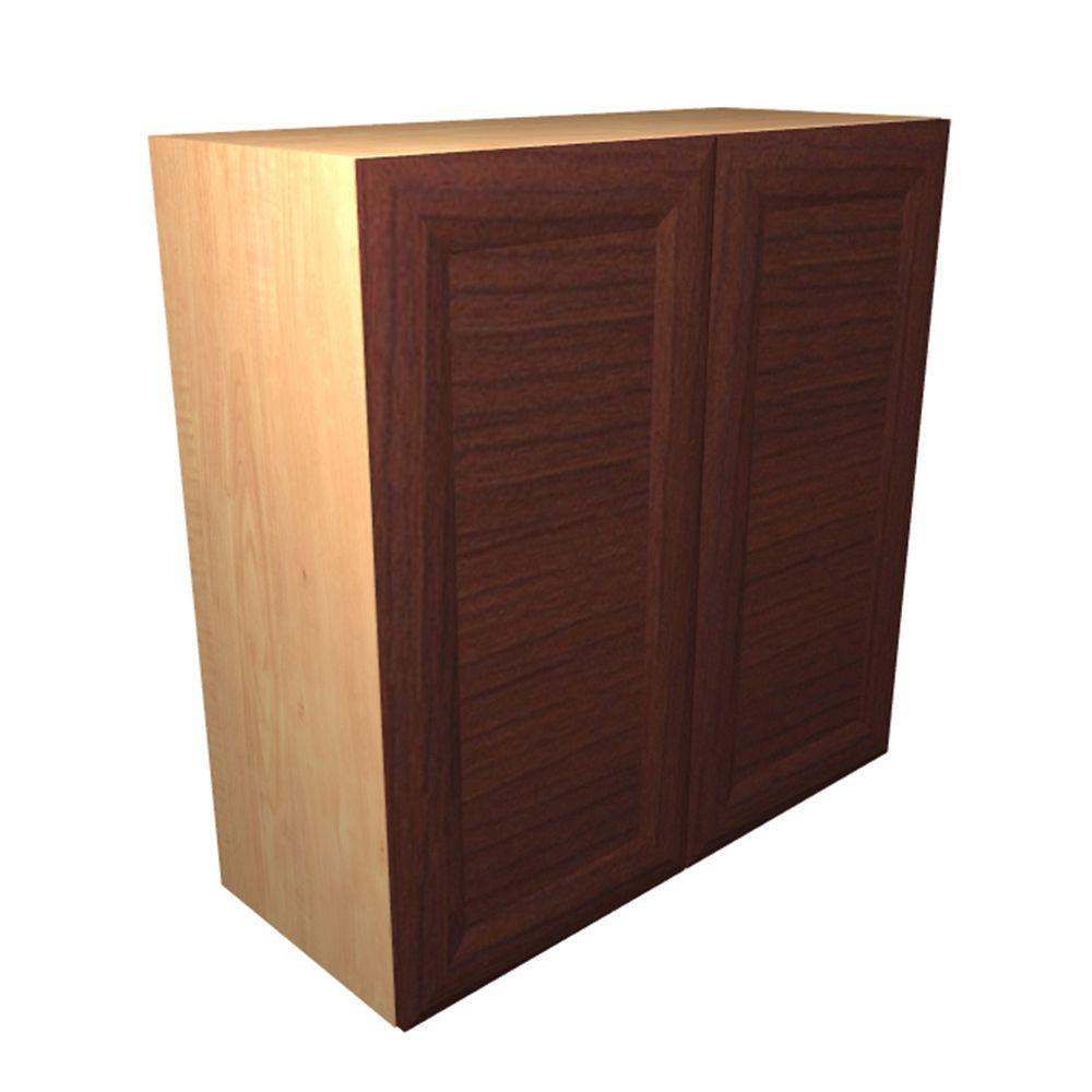 Home Decorators Collection Dolomiti Ready to Assemble 24 x 38 x 12 in. Wall Cabinet with 2 Soft Close Doors in Cherry, Cherry Melamine