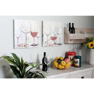 """16 in. x 16 in. """"Wine Goblets"""" Hand Painted Framed Canvas Wall Art (Set of 2)"""
