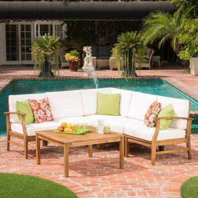 Perla Teak Finish 6-Piece Wood Outdoor Sectional with Cream Cushions