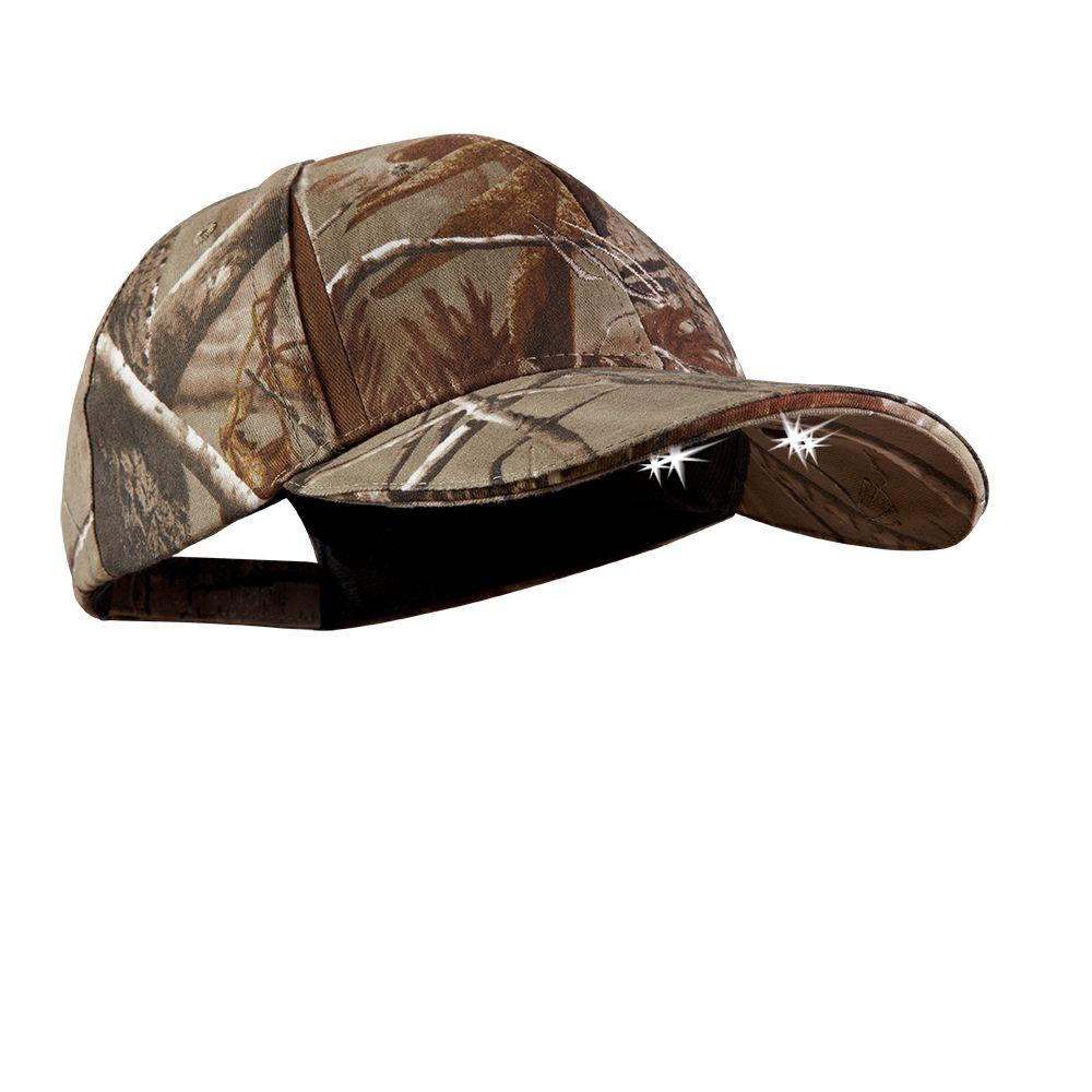 """Powercap Camo LED Hat 25/10 Ultra-Bright Hands Free Lighted Battery Powered Headlamp â€"""" Real tree Xtra Structred,  Greens"""