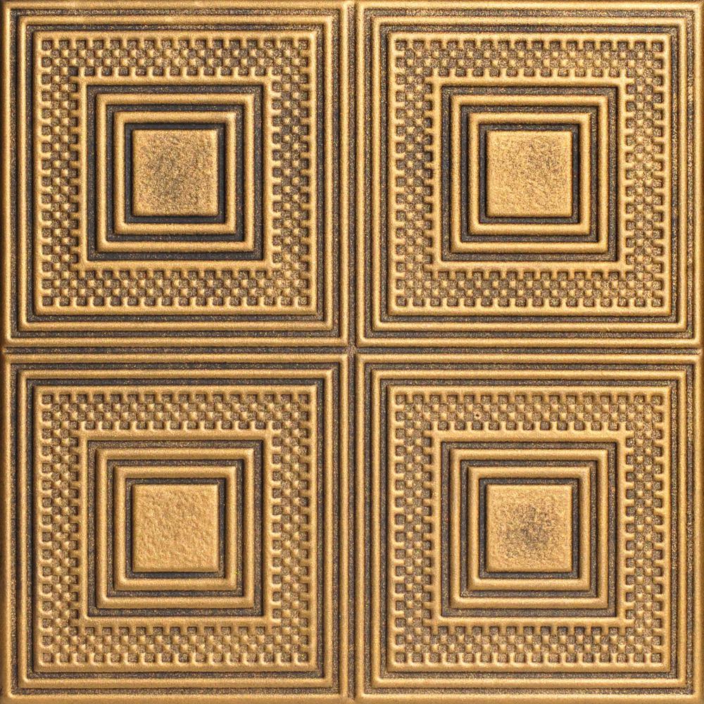 Foam Glue Up Ceiling Tile In Black Gold