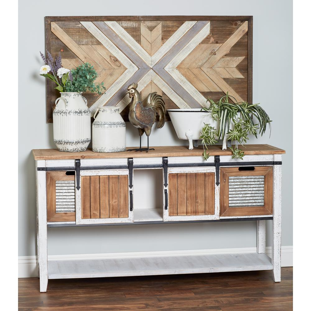 Brown Louvered And Slatted Console Cabinet With 2 Drawers And 2 Doors