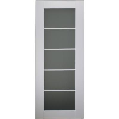 24 in. x 80 in. Smart Pro Polar White Solid Core Wood 5-Lite Frosted Glass Interior Door Slab No Bore