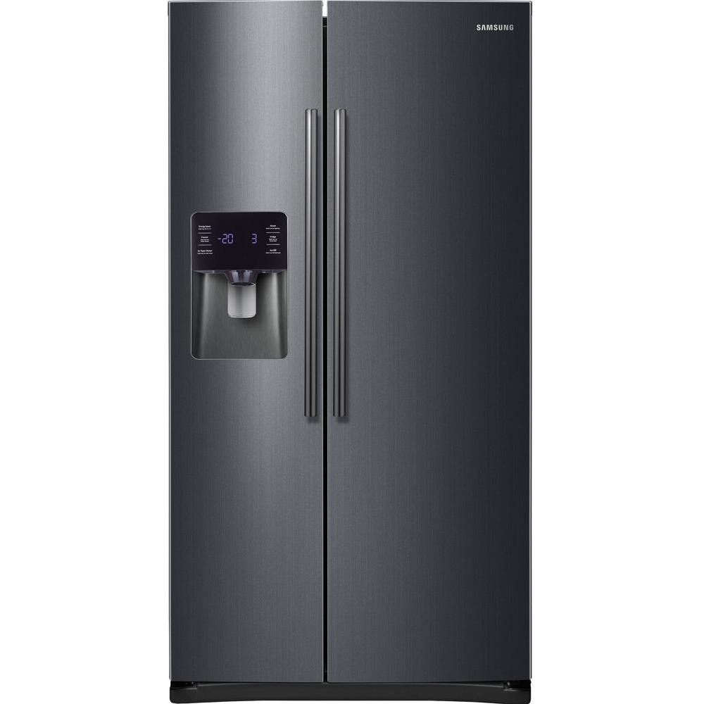 samsung 24 5 cu ft side by side refrigerator in black stainless steel rs25h5111sg the home depot. Black Bedroom Furniture Sets. Home Design Ideas