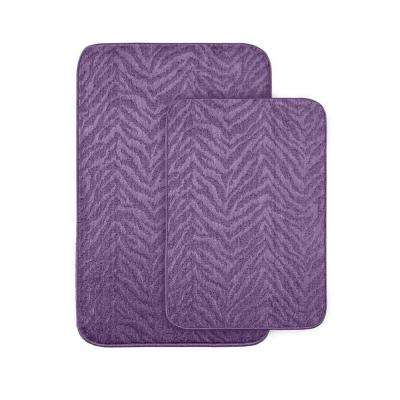 Zebra Purple 20 in x 30 in. Washable Bathroom 2 -Piece Rug Set