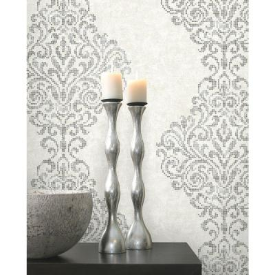 Lux Silver Foil Damask Wallpaper