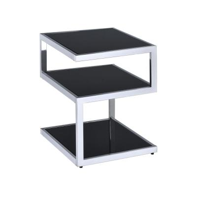 Alyea Chrome and Black Glass End Table
