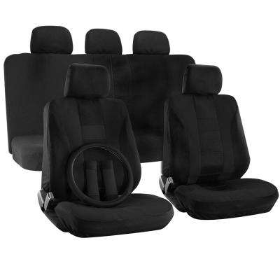 Polyester Seat Covers Set 26 in. L x 21 in. W x 48 in. H 17-Piece Seat Cover Set H-Striped Solid Black