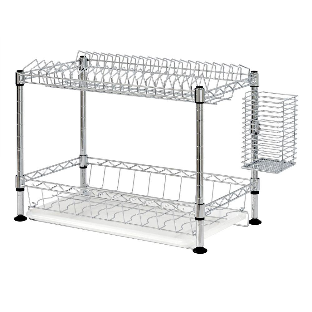 2-Tier Wire Dish Rack in Chrome