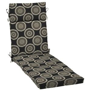 H&ton Bay Black Geo Outdoor Chaise Lounge Cushion-TG0T853B-D9D1 - The Home Depot  sc 1 st  Home Depot : hampton bay chaise lounge cushions - Sectionals, Sofas & Couches