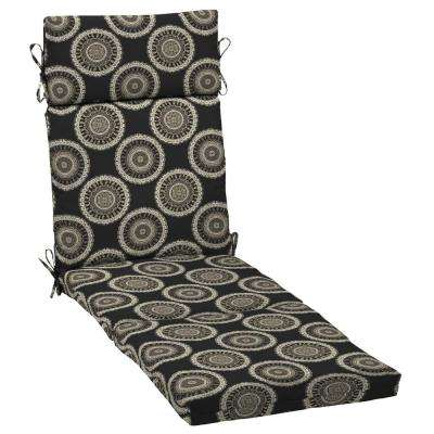 Black Geo Outdoor Chaise Lounge Cushion
