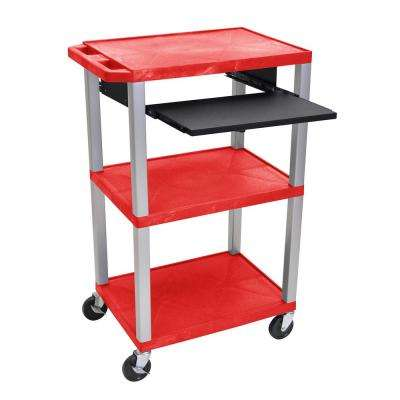 WTPS 42 in. A/V Cart With Pullout Shelf W/ Electric - Red Shelves With Nickel Legs