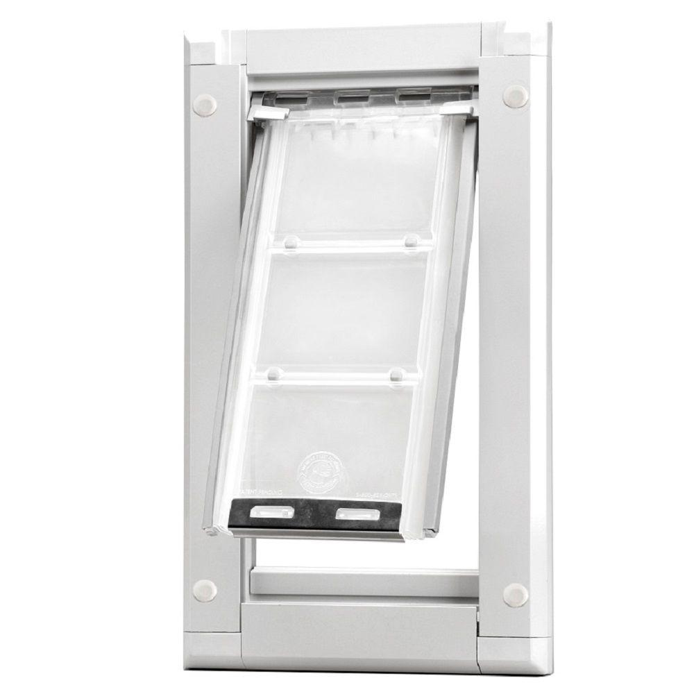 Superbe Medium Single Flap For Doors Pet Door With White Aluminum Frame