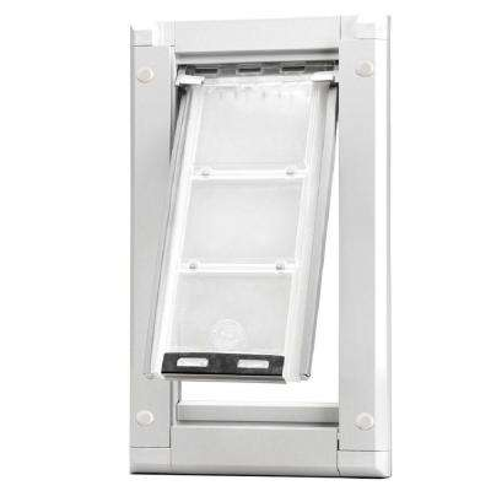8 in. x 15 in. Medium Single Flap for Doors Pet Door with White Aluminum Frame