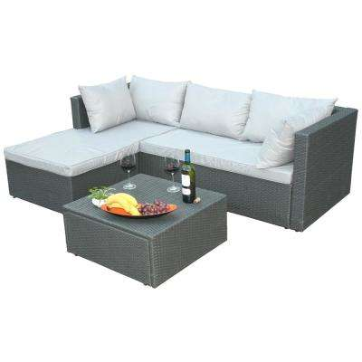 Gray 3-Piece Wicker Outdoor Patio Garden Contemporary Sectional Sofa with Gray Cushions and Ottoman/Coffee Table