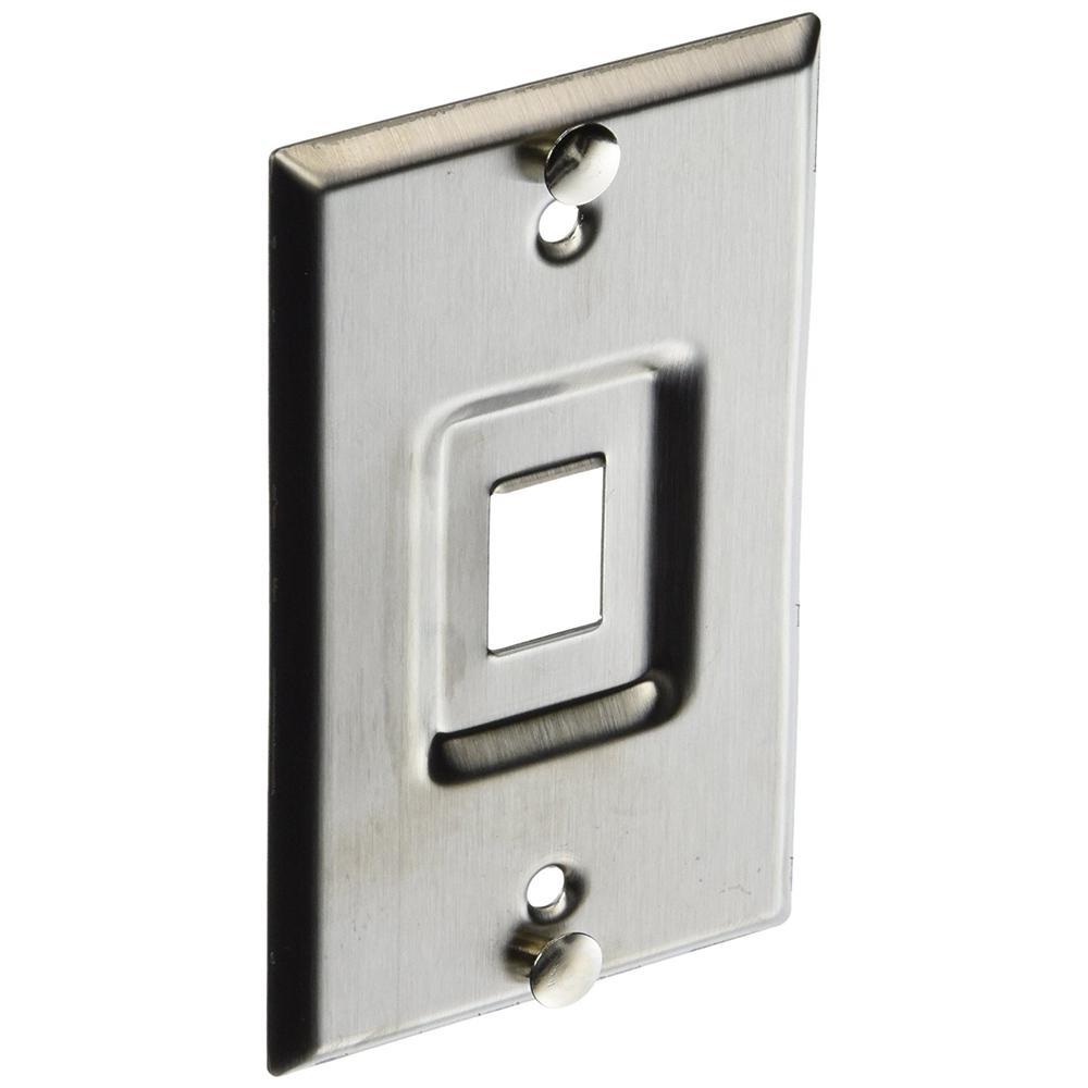 QuickPort Standard Size Recessed Telephone Wallplate, Stainless Steel