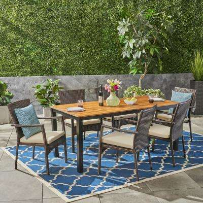 Marconi Brown 7-Piece Wood and Wicker Outdoor Dining Set with Cream Cushions