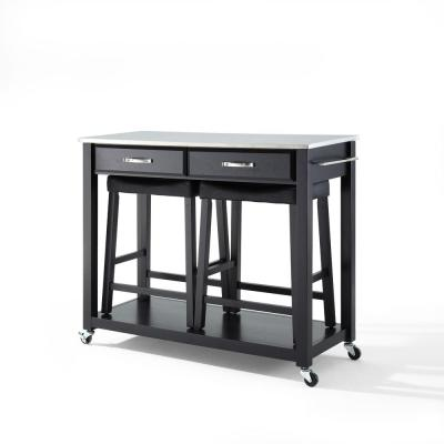 Black Kitchen Cart with Stainless Top and Stools
