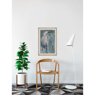 """30 in. H x 20 in. W """"Perched Crane"""" by Marmont Hill Framed Wall Art"""