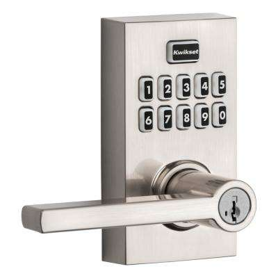 917 SmartCode Satin Nickel Contemporary Electronic Single-Cylinder Halifax Door Lever Featuring SmartKey Security