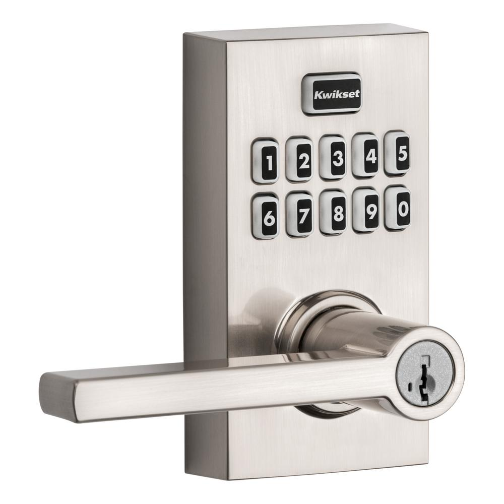 Kwikset 917 SmartCode Polished Chrome Contemporary Electronic Single-Cylinder Halifax Door Lever Featuring SmartKey Security