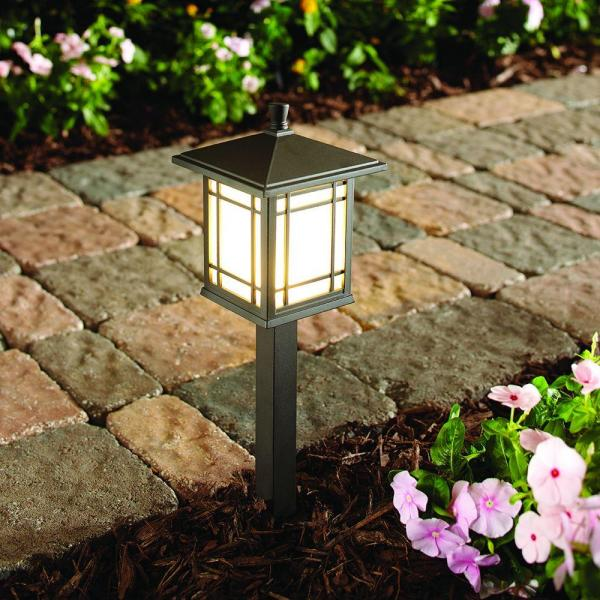 Hampton Bay Low-Volt Bronze LED Mission Style Path Light Frosted Glass 4-Pack