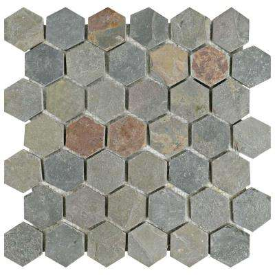 Crag Hexagon Multi Slate 12 in. x 12-1/4 in. x 9 mm Natural Stone Mosaic Tile