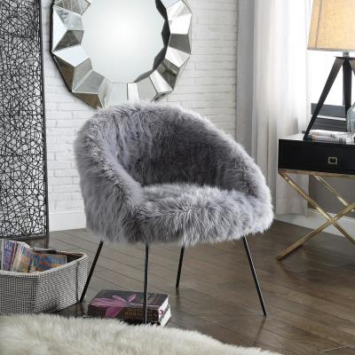 Ana Luxe Fur with Black Powder Coated Metal Leg Accent Chair, Grey