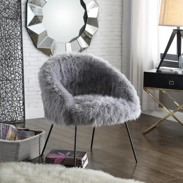 Inspired Home Ana Luxe Fur with Black Powder Coated Metal Leg