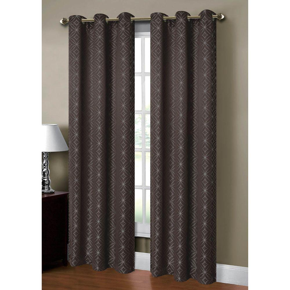 Semi-Opaque Gambia Jacquard 84 in. L Grommet Curtain Panel Pair, Charcoal