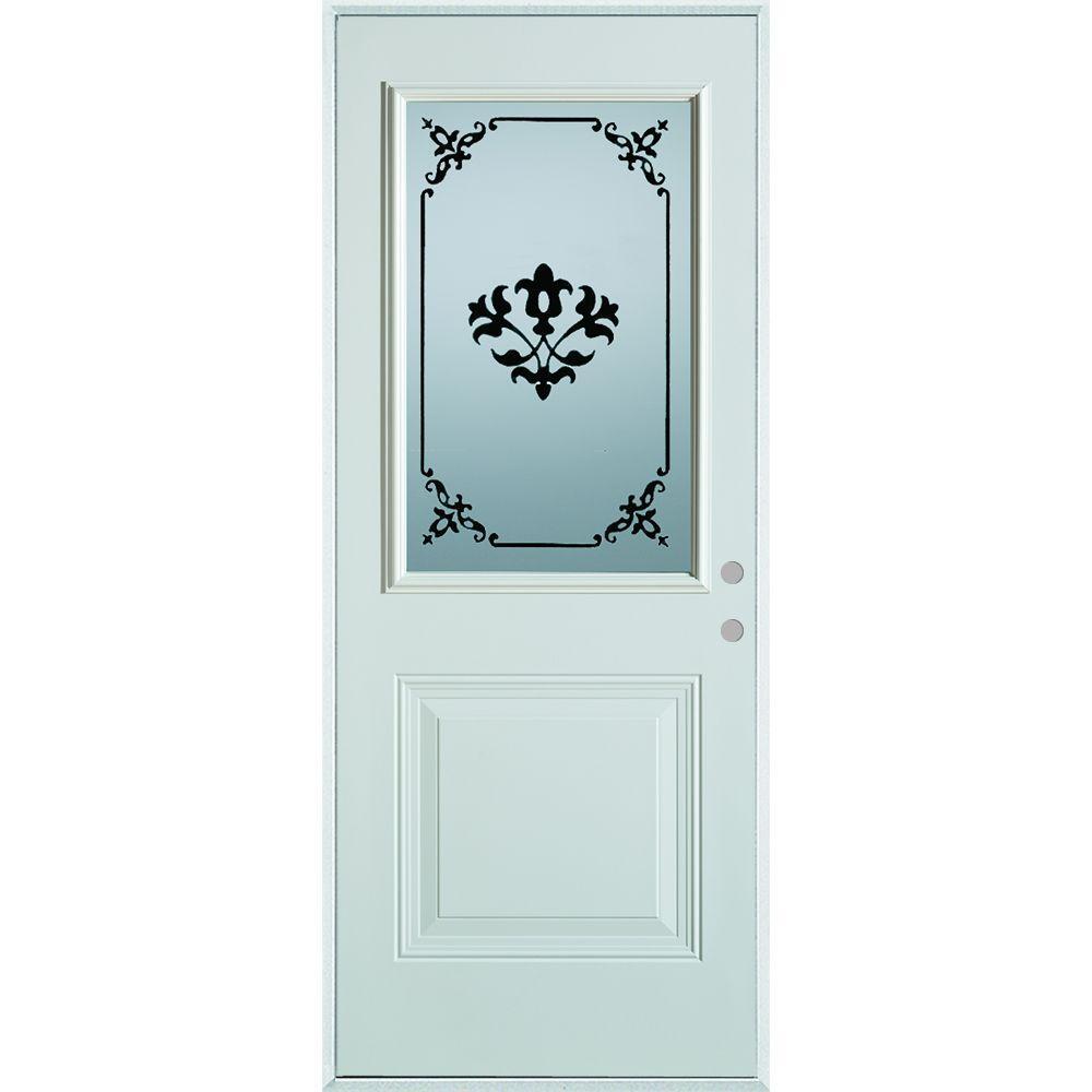 33.375 in. x 82.375 in. Silkscreened Glass 1/2 Lite 1-Panel Painted White Steel Prehung Front Door