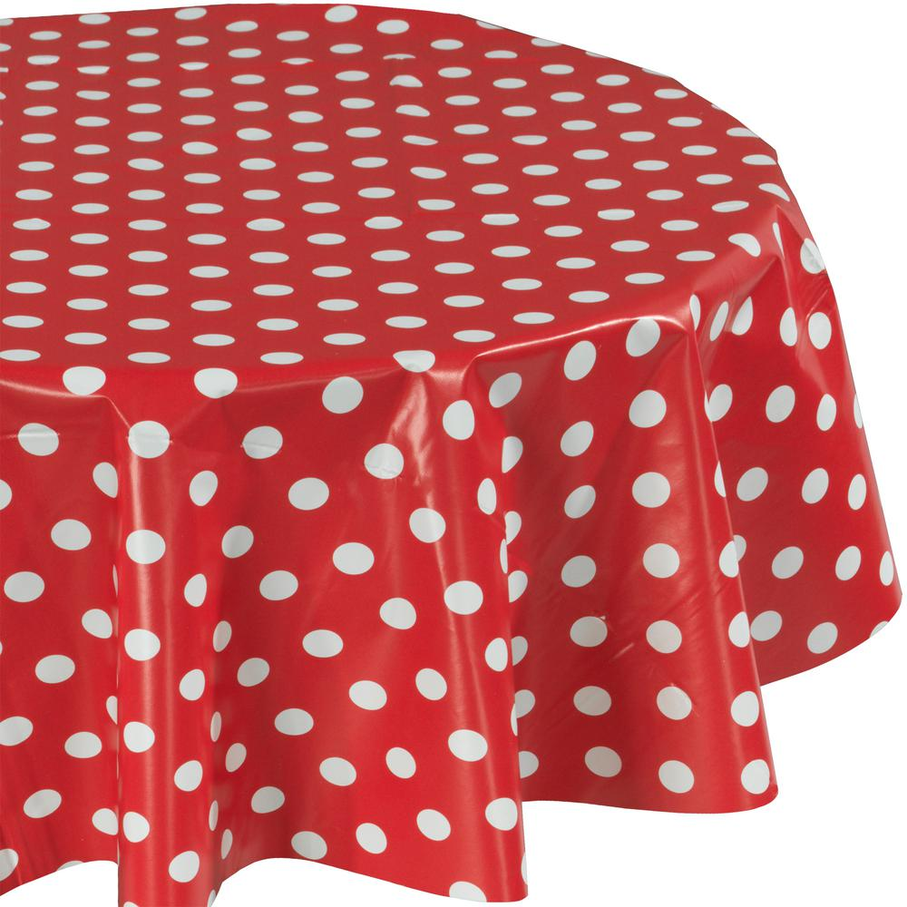 55 in. Red Round Indoor and Outdoor Sunflower Design Table Cloth