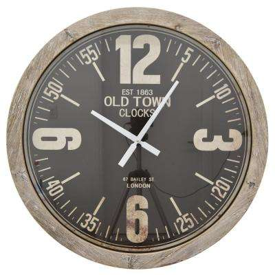 30 in. Brown Natural Wood Round Wall Clock