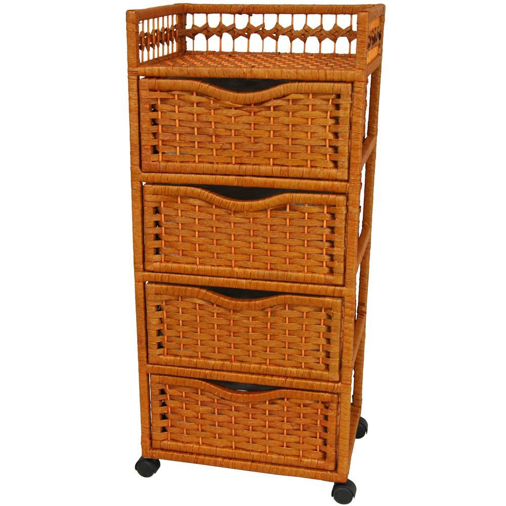 Oriental Furniture 4-Drawer Honey Wheeled Natural Fiber Trunk JH09-069-4-HON