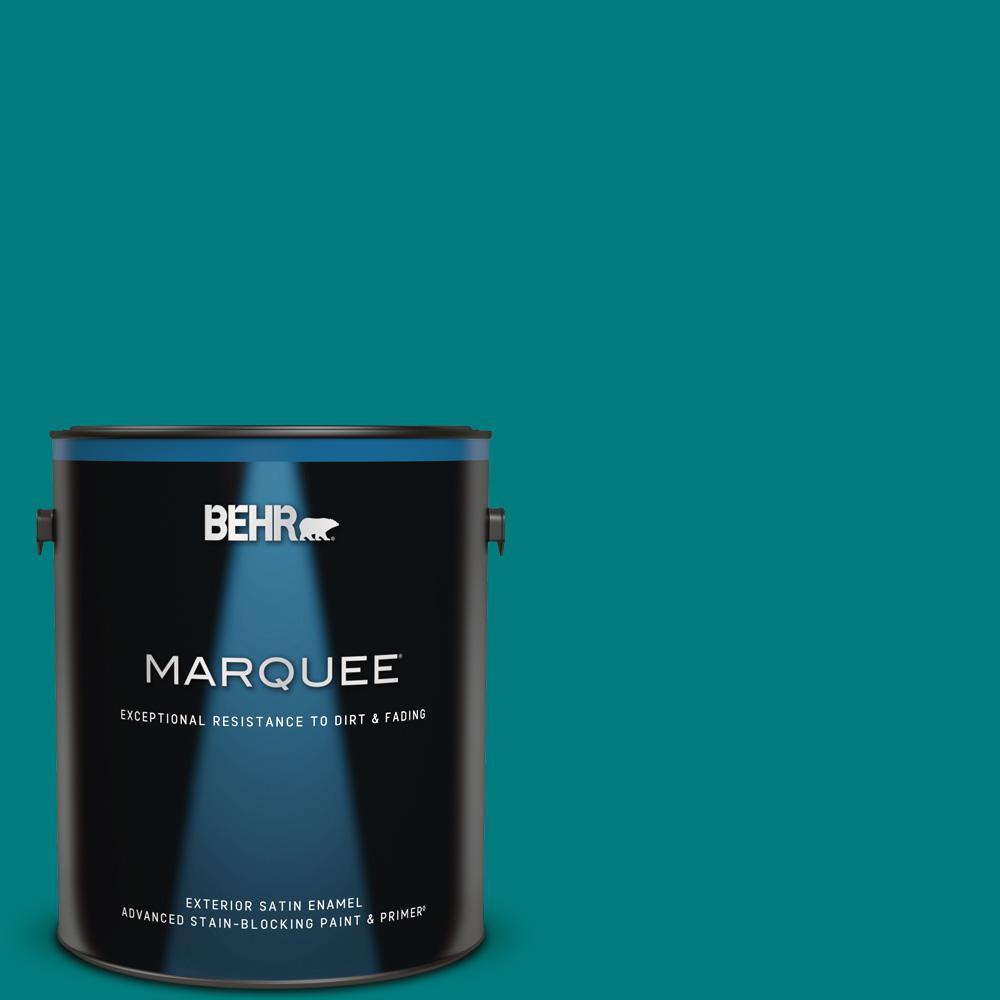 Behr Premium 1 Gal T 500 Natural Clear Transparent: BEHR MARQUEE 1 Gal. #S-G-500 Tropical Waters Satin Enamel