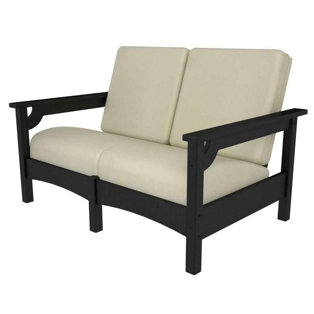 Superieur POLYWOOD Club Black Plastic Patio Settee With Sunbrella Birdu0027s Eye Cushions