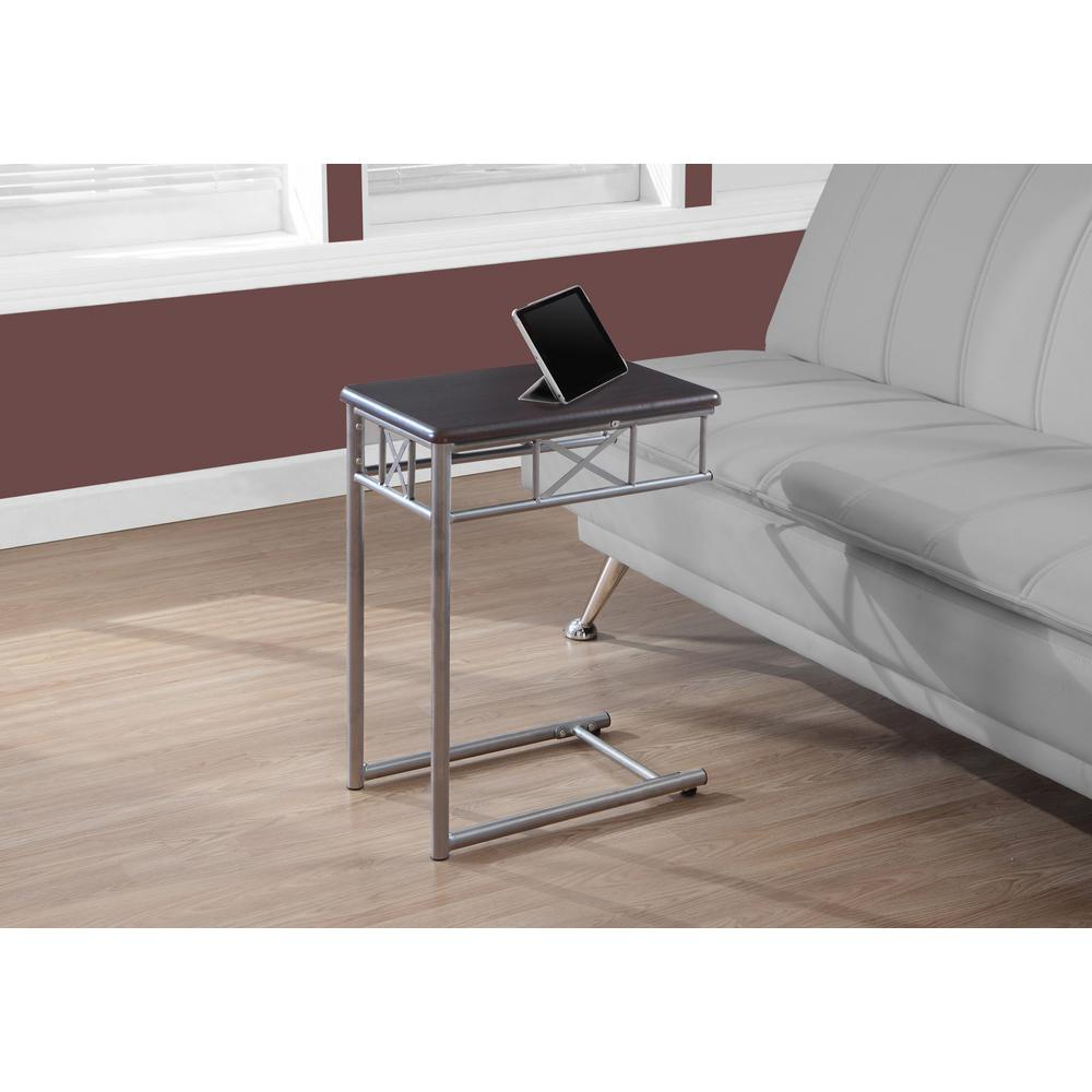 Monarch Specialties Cappuccino and Silver End Table