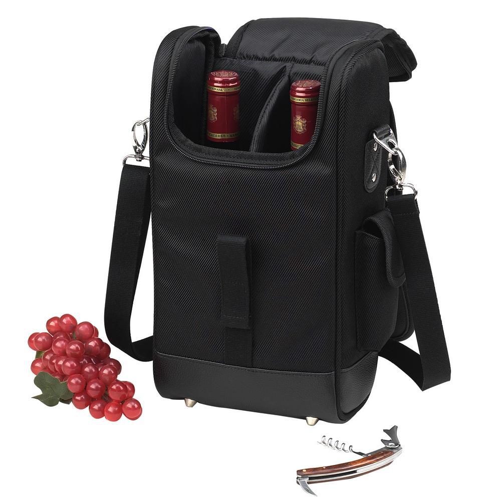 NY Black 2-Bottle Wine Tote with Corkscrew 325NY-BLK