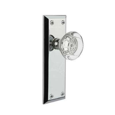 Grandeur Bright Chrome Passage Hall/Closet Fifth Avenue Plate with Burgundy Crystal Door Knob