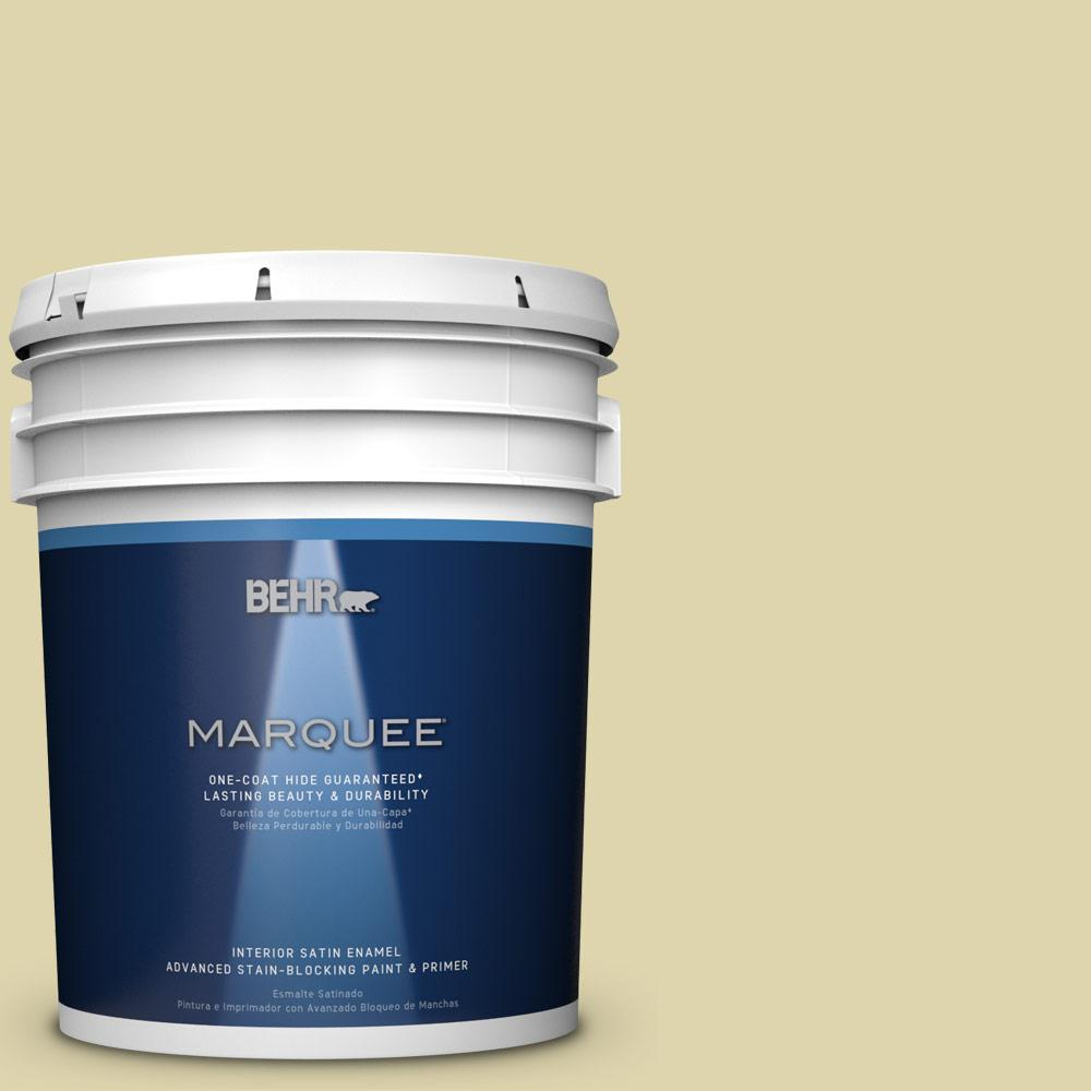 5 gal. #MQ4-40 Primitive Green One-Coat Hide Satin Enamel Interior Paint